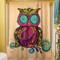 Two Owls Chevron Personalized Shower Curtain By HappyGraphicsShop 6500