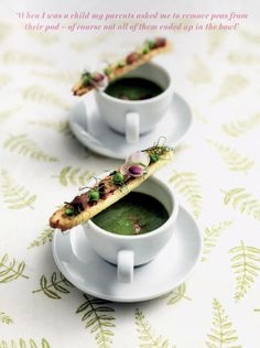 Miele Summer Recipe: Pea and Mint Soup with Parma Ham Straws Pea And Mint Soup, Parma Ham, Original Recipe, Summer Recipes, Starters, Tea Cups, Baking, Tableware, Straws