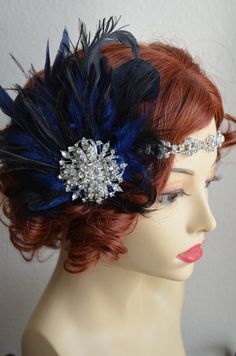 MADE TO ORDERDark Blue and BlackRhinestone Flapper by yanethandco, $110.00