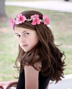 Pink Flower Girl Hair Wreath Flower girl hair by BambaroosBoutique, $38.50