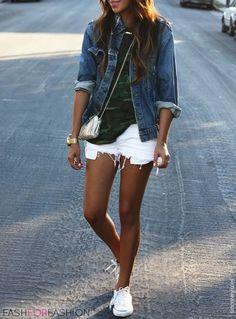 White cutoff shorts, white converse, jean jacket, and military top ensemble