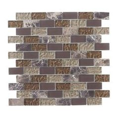 Jeffrey Court  Emperador 1 in. x 2 in. Brick 12 in. x 12 in. Glass Marble Mosaic Wall Tile