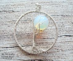 Wire tree of life pendant with moon stone bead by ErikaKavali, £8.00