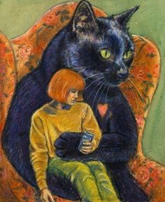 How it feels to be loved by a black cat.  I lived with a black cat who was my anti-anxiety animal -- one trained in the ways of helping humans deal with their panic.  This painting perfectly described how it felt to be in my cat's arms whenever he calmed me!