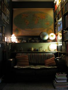 A large vintage map could make a corner a pleasant stopping place.