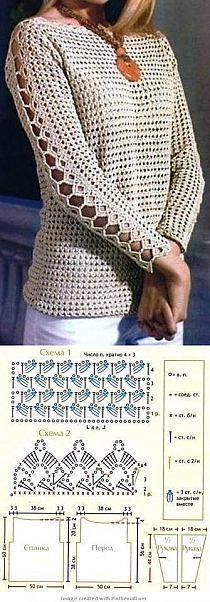 "Blusa de croche com mangas compridas: ""Long sleeved summer with crochet diagram ♡ Teresa Restegui…"", ""Crochet Top - Free Crochet Diagram - (stylowi) if Blouse Au Crochet, Black Crochet Dress, Crochet Shirt, Crochet Jacket, Crochet Cardigan, Crochet Sweaters, Crochet Jumpers, Shawl Cardigan, Pull Crochet"