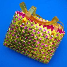 purse made out of candy wrappers