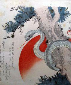"""Keisai Eisen """"White Snake and pine"""""""