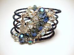 Blue Crystal Memory Wire Bracelet, Blue and Clear Crystal Beads, Silver Wire Wrap Bracelet