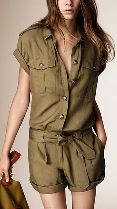 Yellow olive Silk Linen Utility Playsuit - Image 1