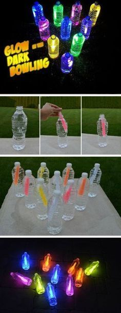 Bowling glow in the dark 16 DIY summer activities for children outdoors Fun sum . Bowling glow in the dark 16 DIY summer activities for children outdoors Fun sum … – Kids Crafts, Summer Crafts For Kids, Crafts For Kids To Make, Summer Kids, Summer Glow, Party Crafts, Kids Diy, Diys For Summer, Summer Nights