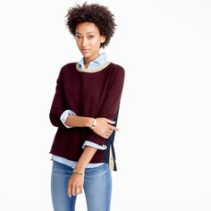 Colorblock crewneck sweater with side snaps : Women sweaters | J.Crew