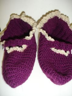 Purple crocheted adult booties  ready to ship by CatWalk7 on Etsy, $20.00