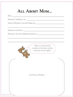 Printable Baby Book Pages Part II from Moming About