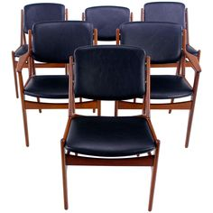 "Set of Six Danish Modern ""Ella"" Teak Dining Chairs Designed by Arne Vodder 