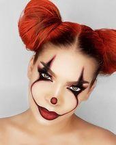 it clown artistry quick easy halloween makeup ideas inspo inspiration looks Girl Clown Makeup, Scary Clown Makeup, Halloween Makeup Clown, Amazing Halloween Makeup, Halloween Eyes, Scary Clowns, Halloween Looks, Halloween Party, Women Halloween