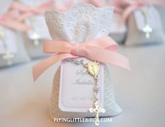 Christening Lavender Sachets Favor with Mini Rosary and Pink Ribbon - Baby Girl Baptism Favors - (set of 20 sachets)