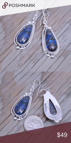 """Sterling Silver & Azurite Earrings Stamped """"925"""".  Sterling silver is an alloy of silver containing 92.5% by mass of silver and 7.5% by mass of other mThe sterling silver standard has a minimum millesimal fineness of 925.   All my jewelry is solid sterling silver. I do not plate.   Hand crafted in Taxco, Mexico.  Will ship within 2 days Jewelry Earrings"""