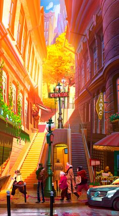 Concept Art Animation Cities 60 Ideas For 2019 Art And Illustration, Illustration Parisienne, Illustrations, Environment Concept Art, Environment Design, Vaporwave Anime, Magic Creatures, Animation, Street Art