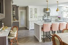 Caitlin Wilson Design kitchen hicks pendants herringbone wood floor