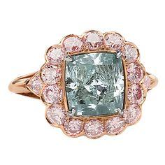 Fancy Intense Blueish Green Cushion Cut Diamond Ring  Surrounded by Fancy Intense Pink Round Diamonds