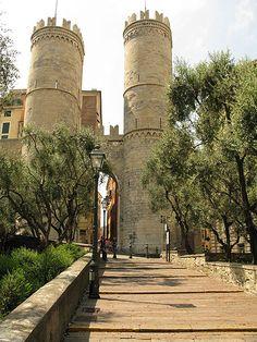 Genova, Province of Genoa , Liguria region Italy . Porta soprana - Mura del Barbarossa - built 1155 AD to defend the Indipendence of the Genoan Republic against the claims of the Emperor Frederick Barbarossa