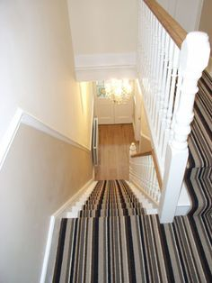A selection of halls, stairs and landings that we have decorated and furnished, … – carpet stairs Painted Stairs, Wooden Stairs, Painted Staircases, Metal Stairs, Concrete Stairs, Loft Stairs, Spiral Staircases, Basement Stairs, Tiny House Stairs