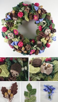 Knitting Patterns Animals Free Knitting Pattern for Woodland Wreath – Designed by Frankie Brown, this knitted cover for any si… Crochet Wreath, Crochet Crafts, Yarn Crafts, Crochet Flowers, Diy Flowers, Animal Knitting Patterns, Crochet Patterns, Free Knitted Flower Patterns, Free Christmas Knitting Patterns