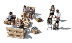 cut out group of young people having a barbeque party seen from above Cut Out People, Young People, Group, Illustration, Party, Parties, Illustrations