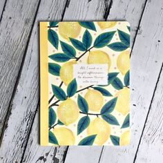 Inspirational lemon illustrated lined notebook is a great place to take notes for work, school, or for keeping your mind organized. Lined Notebook, Inspirational Gifts, Lemon, Notes, Bright, Journal, School, Illustration, Great Places