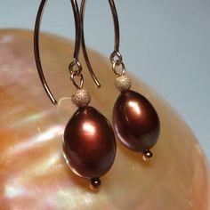 Chocolate Brown Freshwater Pearl Dangle Earrings    by kauainanidesigns, $30.00
