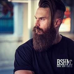Brendan Bourassa - full thick bushy beard mustache beards bearded man men bearding viking vikings style so handsome Mustache Grooming, Beard No Mustache, Beard Styles For Men, Hair And Beard Styles, Moustaches, Hairy Men, Bearded Men, Beard Cuts, Types Of Beards