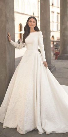 24 modest wedding dresses of your dream wedding dresses guide weddingdresses modest wedding dresses with long sleeves a line simple millanova 36 lace wedding dresses that you will absolutely love Boho Wedding Dress With Sleeves, Top Wedding Dresses, Wedding Dress Trends, Long Sleeve Wedding, Bridal Dresses, Gown Wedding, Modest Wedding Gowns, Dress Lace, Long Sleeved Wedding Dresses