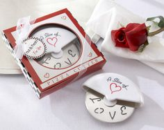 'Slice of Love' Pizza Cutter Favors from Wedding Favors Unlimited