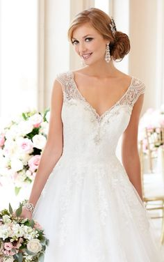 Stella York Ball Gown Wedding Dress with V-neckline style 6357 c