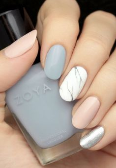 Grey, blush and marble effect nail art // PRÊTE Beauty Bible // Manicure // Zoya