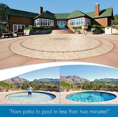 If you enjoy having a patio but don't have room for a pool, you may consider the Hidden Water Pool. With mechanical controls, the concrete patio can be lowered to various depths and create a pool of water for all swimmers. This design is great for safety Hidden Water Pool, Hidden Swimming Pools, Pergola, Deco Nature, Kid Pool, Dream Pools, Cool Pools, Gaudi, Pool Houses