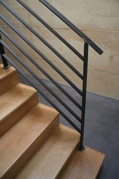 Flat bar steel rail http://www.designerstaircases.com.au/products-list/balustrade-range/iron-balustrades/iron05