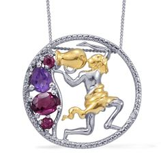 Orissa Rhodolite Garnet, Amethyst, and Diamond Aquarius Pendant with Chain in 14K Yellow Gold and Platinum Overlay Sterling Silver (Nickel Free) | #CustomerCreations