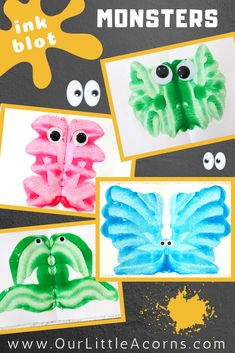 Make these ink blot monsters for your Halloween or monster theme using only paper, paint, and googly eyes! Fun for toddlers, preschoolers, and big kids!