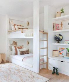 White and bright neutral girls bedroom design with built in bunk beds, built in shelving and tones of blush - Amber Interiors Girl Room, Room Design, Kid Room Decor, Bed, Bunk Bed Designs, Home, Cool Rooms, Bedroom Design, Modern Bunk Beds