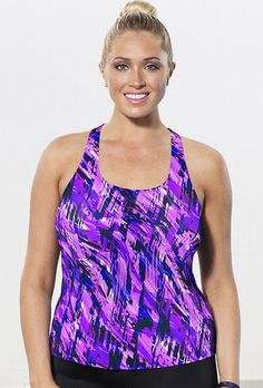 Aquabelle Women's Plus Size Chlorine Resistant Earthquake Racerback Top 18 Pink: Style Sizes fit up to a C/D cup. sizes fit up to a D/DD cup. Chlorine Resistant Swimwear, Plus Size Swim, Pink Abstract, Tankini Top, Plus Size Women, Plus Size Outfits, Fashion Brands, Swimsuits, Casual