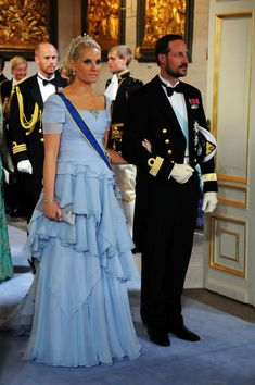 Crown Prince Haakon of Norway and Crown Princess Mette Marit of Norway attend the wedding ceremony between Crown Princess Victoria of Sweden and Daniel Westling at Stockholm Cathedral on June 19, 2010 in Stockholm, Sweden.