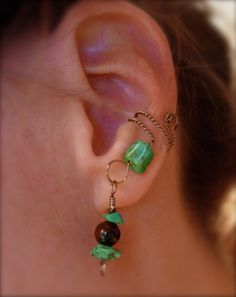 Single ear cuff, genuine tiger eye, and turquoise colored Howlite