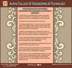 We here by inform the 1st year students of 2015 batch who all took admissions in Alpha College Of Engineering & Technology to kindly confirm your admissions by 29th July 2015. We are happy to welcome and help you wherever you need assistance in these process.  ‪#‎admissions‬ ‪#‎seats‬ ‪#‎circular‬ ‪#‎notice‬ ‪#‎instruction‬ ‪#‎confirmation‬ ‪#‎process‬ ‪#‎procedure‬ ‪#‎batch2015‬ ‪#‎firstyearstudent‬ ‪#‎engineering‬ ‪#‎technology‬ ‪#‎alpha‬ ‪#‎ACET‬ ‪#‎khatraj‬ ‪#‎gujarat‬