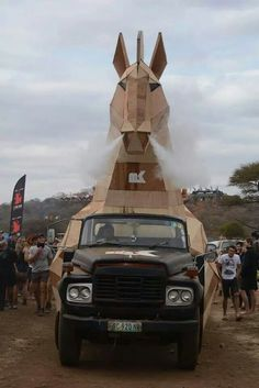 MK Trojan horse - Oppikoppi Odyssey. Credit 3destudios Trojan Horse, Fighter Jets, Aircraft, Horses, Vehicles, Aviation, Plane, Airplanes, Car
