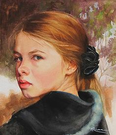 Artist: Patricia Rios {contemporary figurative art beautiful female redhead beautiful young woman face portrait painting #loveart} <3
