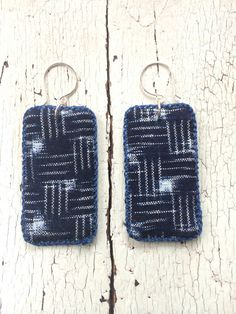 Vintage Indigo Kasuri Textile Earrings with Sterling Ear Wires