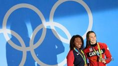 Canadian Penny Oleksiak and Simone Manuel of the United States were inseparable at the finish and even more united in joy after a stunning 100 metres freestyle dead-heat rewarded both with Olympic gold on Thursday.