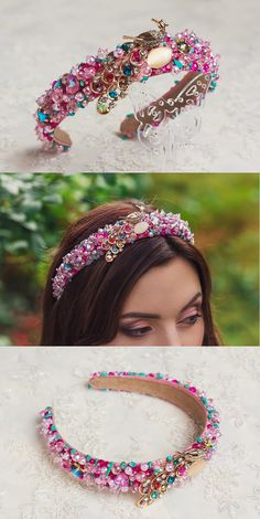 Flower crowns, beaded headbands, bridal crystal tiaras by ShinyBeautyStore Hairband Hairstyle, Tiara Hairstyles, Beach Hairstyles, Men's Hairstyle, Ponytail Hairstyles, Hairstyles Haircuts, Wedding Hairstyles, Handmade Headbands, Headbands For Women